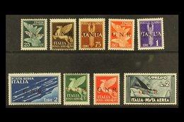 "SOCIAL REPUBLIC AIRMAILS 1944 ""G.N.R."" Overprints, Complete Set Incl. 2L Express Stamp, Sassone 117/25, Mi 35 I/43 I, Mi - Italy"