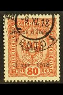 TRENTINO 1918 80h Chestnut Ovptd, SG 13, Very Fine Used. For More Images, Please Visit Http://www.sandafayre.com/itemdet - Italy