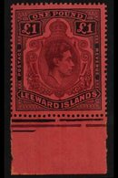 1938-51 £1 Purple & Black On Carmine (Feb/March 1942 Printing) Position 55, (SG 114a, MP 13b), Never Hinged Mint Lower M - Leeward  Islands