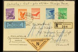 1937 FLIGHT COVER (May 18th) Vaduz To Copenhagen Registered Cover Bearing Vaduz Reg Tab, The 1934 Airmail Stamp Set (Mi  - Liechtenstein