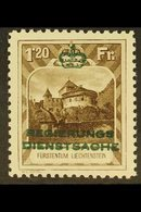 OFFICIAL 1932 1fr20 Sepia With Green Overprint, Perf 10½, Michel 8A, Never Hinged Mint. For More Images, Please Visit Ht - Liechtenstein