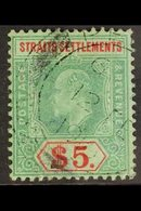 1906-12 $5 Green And Red On Green, SG 167, Neat Penang Cds Used. For More Images, Please Visit Http://www.sandafayre.com - Great Britain (former Colonies & Protectorates)