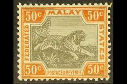F.M.S. 1900-01 50c Grey And Orange Brown Tiger, SG 22a, Fine Mint. For More Images, Please Visit Http://www.sandafayre.c - Great Britain (former Colonies & Protectorates)