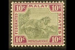 FEDERATED MALAY STATES 1900-01 10c Grey And Claret, Watermark Crown CA, SG 20a, Very Fine Mint. For More Images, Please  - Great Britain (former Colonies & Protectorates)