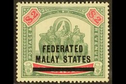 FEDERATED MALAY STATES 1900 $2 Green And Carmine, Elephants, SG 12, Very Fine Mint. For More Images, Please Visit Http:/ - Great Britain (former Colonies & Protectorates)