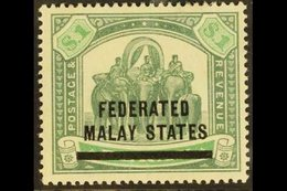 FEDERATED MALAY STATES 1900 $1 Green And Pale Green, Elephants, SG 11, Very Fine Mint. For More Images, Please Visit Htt - Great Britain (former Colonies & Protectorates)