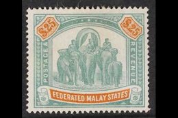 FEDERATED MALAY STATES 1900 $25 Green And Orange Elephants, Wmk Crown CC, SG 26, Mint With Heavy Hinge Remain And Small  - Great Britain (former Colonies & Protectorates)