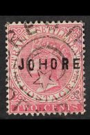 JOHORE 1884 2c Pale Rose Opt Type 3, SG 3, Very Fine Used. For More Images, Please Visit Http://www.sandafayre.com/itemd - Great Britain (former Colonies & Protectorates)