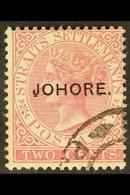 "JOHORE 1884-86 2c Pale Rose ""JOHORE."" Overprint, SG 6, Fine Used, Fresh. For More Images, Please Visit Http://www.sandaf - Great Britain (former Colonies & Protectorates)"