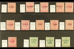 JOHORE 1884-1891 OVERPRINTS Mint Group On A Stock Card, All Identified By Cat Numbers, Includes 1884-86 2c SG 6 (thin),  - Great Britain (former Colonies & Protectorates)