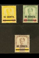 JOHORE 1904 Surcharged Set, SG 58/60, Fine Mint (3 Stamps) For More Images, Please Visit Http://www.sandafayre.com/itemd - Great Britain (former Colonies & Protectorates)
