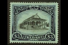 KEDAH 1912 $3 Black And Blue On Blue Council Chamber, SG 13, Very Fine Mint. For More Images, Please Visit Http://www.sa - Great Britain (former Colonies & Protectorates)