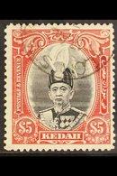 KEDAH 1937 $5 Black And Scarlet Sultan, SG 68, Superb Cds Used. For More Images, Please Visit Http://www.sandafayre.com - Great Britain (former Colonies & Protectorates)