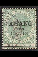 PAHANG 1891 2c On 24c Green Type 5, SG 7, Very Fine Used. For More Images, Please Visit Http://www.sandafayre.com/itemde - Great Britain (former Colonies & Protectorates)