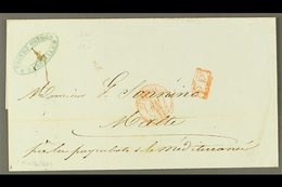 """1843 (MAY) Stampless Wrapper From Marseilles To Malta Showing On The Front Red Marseilles Cds Plus Boxed """"P.P."""" In Red,  - Malta (...-1964)"""