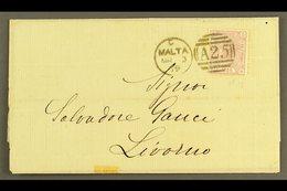 "1879 COVER TO LIVORNO Bearing Great Britain 2½d Rosy-mauve, Plate 13, Tied By ""MALTA / A25"" Duplex Cancel, Syracusa Tran - Malta (...-1964)"