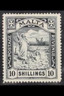 1919 10s Black Wmk Mult Crown CA, SG 96, Very Fine Mint. Missing From Most Collections. For More Images, Please Visit Ht - Malta (...-1964)