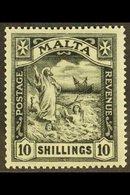 1921 10s Black, St Paul, Wmk Script, SG 104, Very Fine And Fresh Mint. For More Images, Please Visit Http://www.sandafay - Malta (...-1964)
