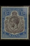 "1921-22 KGV (wmk Mult Script CA) 2s Purple And Blue/blue, Variety ""Break In Lines Below Left Scroll"", SG 103e, Very Fine - Malta (...-1964)"