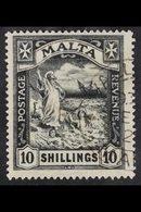1922 10s Black, Wmk Mult Script CA, SG 104, Superb Used. For More Images, Please Visit Http://www.sandafayre.com/itemdet - Malta (...-1964)