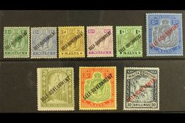 "1922 Geo V Set Complete To 5s, Wmk MCA, With 10s Blue Black Wmk CC, Ovptd ""Self-Government"", SG 105/11, Very Fine Mint.  - Malta (...-1964)"
