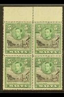 1938 5s. Black And Green, Upper Marginal Block Of Four, One Showing Semaphore Flaw, SG 230a, Fine Never Hinged Mint. For - Malta (...-1964)