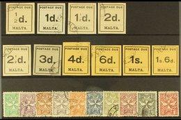 POSTAGE DUES 1925 Typeset & Sideways Script Wmk Sets, SG D1/20, Good To Fine Used (20 Stamps) For More Images, Please Vi - Malta (...-1964)