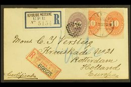 """1891 (19 Sept) Registered Cover Addressed To Netherlands, Bearing 10c Vermilion (x2) + 10c Lilac Cancelled By """"Mexico"""" C - México"""