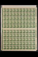 """1934 4c Green """"Columbus"""", P10½, Complete SHEET OF 100 With Selvedge To All Sides, Sc 689, SG 538, Never Hinged Mint (100 - México"""