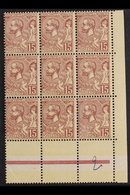 1901 15c Purple-brown On Yellow (Yvert 24, SG 24), Never Hinged Mint Lower Right Corner BLOCK Of 9 With One Stamp Showin - Mónaco