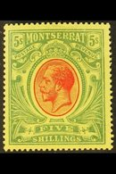 1914 5s Green & Red On Yellow, KGV, Wmk Mult. Crown CA, SG 48, Very Fine Mint. For More Images, Please Visit Http://www. - Montserrat
