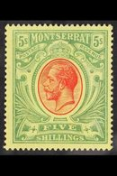 1914 5s Red And Green On Yellow, King George V, SG 48, Very Fine Mint. For More Images, Please Visit Http://www.sandafay - Montserrat