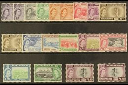 1953-62 Pictorial Definitive Set Plus All Four Type II Additional Printings, SG 136a/49a, Never Hinged Mint (19 Stamps)  - Montserrat