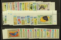 "OFFICIALS 1985, 1992 & 1993 ""OHMS"" Overprints Complete Sets, SG O62/75, O94/105 & O106/20, Never Hinged Mint, Fresh. (41 - Montserrat"
