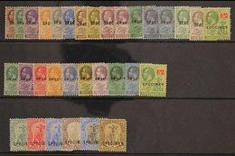 """SPECIMENS Selection Of Mint Stamps Incl Geo V , Wmk Script, Vals To 5s Overprinted """"Specimen"""". (32 Stamps) For More Imag - Montserrat"""