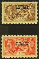 """BRITISH CURRENCY 1935-37 Re Engraved """"Seahorse"""" Set, SG 73/74, Fine Mint (2 Stamps) For More Images, Please Visit Http:/ - Morocco (1891-1956)"""