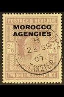 """BRITISH CURRENCY 1907-13 2s6d Pale Dull Purple Overprint, SG 38, Fine Used With Fully Dated """"Tangier"""" Cds Cancel. For Mo - Morocco (1891-1956)"""