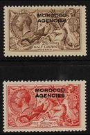 BRITISH CURRENCY 1914-31 Bradbury Wilkinson 2s6d Chocolate-brown And 5s Rose-red, SG 53/54, Very Fine Mint. (2 Stamps) F - Morocco (1891-1956)