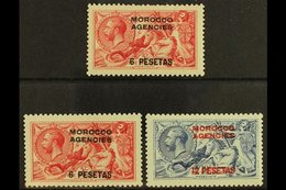 """SPANISH 1914-26 Waterlow """"Seahorse"""" Set, SG 136/8, Fine Mint (3 Stamps) For More Images, Please Visit Http://www.sandafa - Morocco (1891-1956)"""