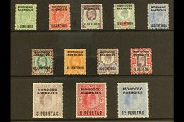 SPANISH CURRENCY 1907-12 Overprints Complete Set, SG 112/23, Very Fine Mint, Very Fresh. (12 Stamps) For More Images, Pl - Morocco (1891-1956)