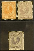 1872-91 15c, 25c & 1g William III,Mi / NVPH 23, 26, 28, Mint (regummed), Small Faults, Michel Cat. 1670 Euros (3 Stamps - Netherlands