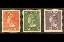 1946 2½g Brown-red, 5g Deep Green & 10g Deep Violet Queen Wilhelmina Definitives High Values (SG 617/19, Michel 454/56,  - Netherlands