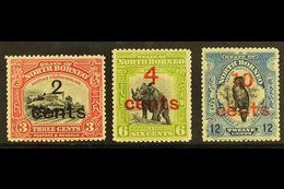 1916 Surcharges Set, SG 186/188, Fine Mint. (3) For More Images, Please Visit Http://www.sandafayre.com/itemdetails.aspx - Borneo Septentrional (...-1963)