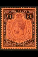 1913-21 £1 Purple And Black / Red, Wmk Mult Crown CA, SG 98, Never Hinged Mint. Superb. For More Images, Please Visit Ht - Nyassaland (1907-1953)
