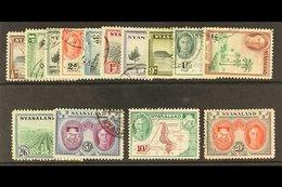 1945 Complete Definitive Set, SG 144/157, Very Fine Used. (14 Stamps) For More Images, Please Visit Http://www.sandafayr - Nyassaland (1907-1953)