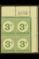 POSTAGE DUES 1950 3d Green, Sheet Number, Corner Block Of 4, SG D3, Never Hinged Mint, Few Split Perfs At Top. For More  - Nyassaland (1907-1953)