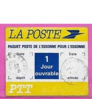 Etiquette Paquet Poste De L'essonne Pour L'essonne - 1 Jour Ouvrable - La Poste PTT - 1987 - Documents De La Poste