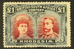 """1910-13 £1 Crimson And Slate-black """"Double Head"""", SG 166a, Very Fine Unused Without Gum, Lovely Rich Colours. With PFSA  - Great Britain (former Colonies & Protectorates)"""