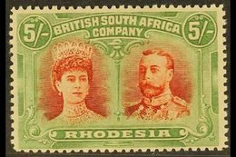 1910-13 5s Vermilion And Deep Green Perf 14 Double Head, SG 159, Very Fine Mint. For More Images, Please Visit Http://ww - Great Britain (former Colonies & Protectorates)