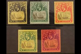 1922-37 KGV Badge Defins, Wmk Mult Crown CA, Complete Set, SG 92/6, Very Fine Mint (5 Stamps). For More Images, Please V - Isla Sta Helena